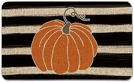 Artoid Mode Watercolor Stripes Pumpkin Decorative Doormat, Fall Seasonal Harvest Thanksgiving Vintage Rustic Low-Profile Yard Floor Mat Switch Mat for Indoor Outdoor 17 x 29 Inch