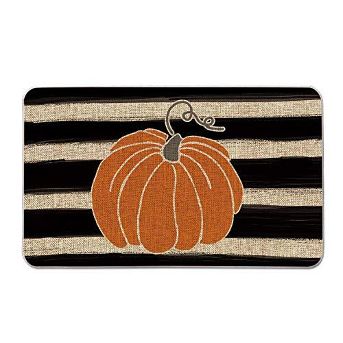 Artoid Mode Watercolor Stripes Pumpkin Decorative Doormat, Fall Seasonal Harvest Thanksgiving Vintage Rustic Low-Profile…