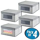 mDesign Soft Stackable Fabric Closet Storage Organizer Holder Box - Clear Window, Attached Hinged Lid, for Child/Baby Room, Nursery, Playroom – Textured Print - Medium, Pack of 4, Gray