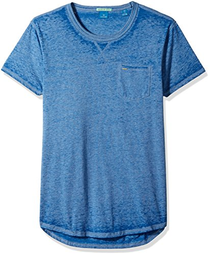 Scotch & Soda Men's Tee in Ausbrenner Quality with Uneven Bottom Hem, Washed Indigo, X-Large