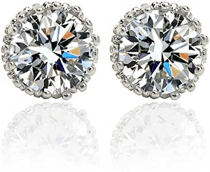 IPINK New Luxurious Round Studs Austrian Crystal 18k White Gold Earring