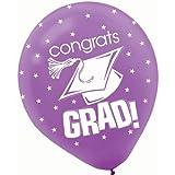 Congrats Grad Purple Latex Balloons 15ct