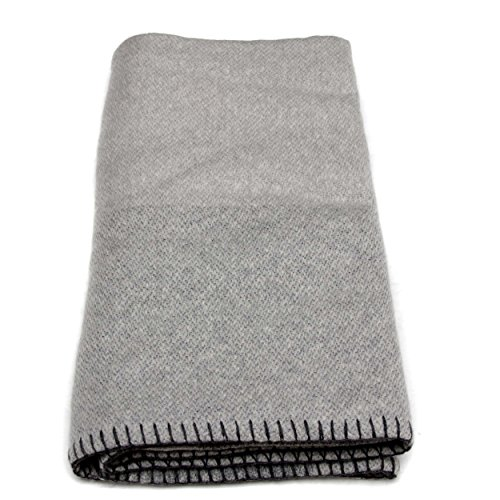 100% Cashmere Blanket 8 PLY Mongolian Cashmere , Thick Cashmere Blanket, Luxury Winter Cashmere Blanket 26/2 + 5.1 (8 PLY)Yarn Composition, Grey with Black Border by Moksha Cashmere