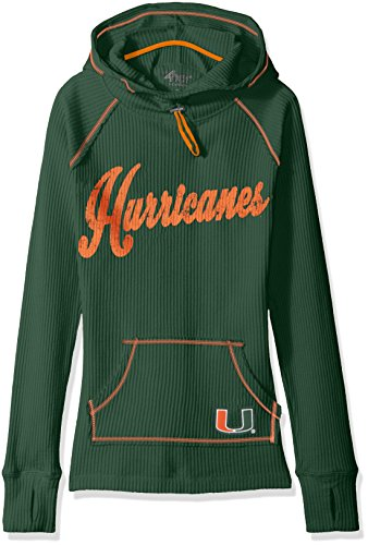 NCAA Miami Hurricanes Women's Base Camp Adventure Hoody, Large, Green (Hurricane Iii)