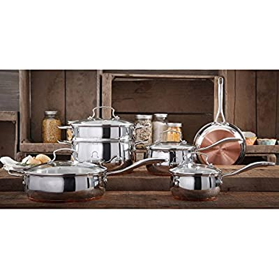 The Pioneer Woman 10 Piece Stainless Steel Kitchen Cookware Copper Set with Ergonomic Handles