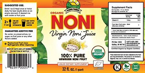 Virgin Noni Juice - 100% Pure Organic Hawaiian Noni Juice - 6 Pack of 32oz Glass Bottles by Virgin Noni Juice (Image #1)