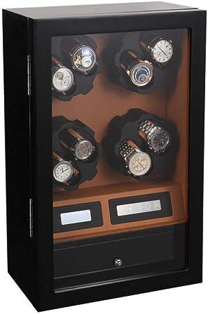 QIALPEG Caja Giratoria para Relojes Automatico 8 + 5 con A Prueba De Polvo Y Antimagnético Lujo Watch Winder 8 Modos Rotación 100% Hecho A Mano Genial Regalo para Esposa Y Marido,Black+Brown: