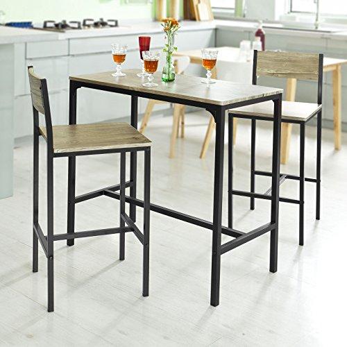Haotian OGT03,Sling High Bistro Set,Home Kitchen Outdoor Garden Bar Set,Patio Furniture, Bar Set-1 Bar Table and 2 ()
