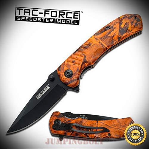 ORANGE CAMO Assisted Opening SPEEDSTER Sharp Knife Brand - Premium Quality Hunting Very Sharp EMT EDC