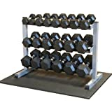 Body Solid GDR363-RFWS Dumbbell Rack with Rubber Dumbbells For Sale