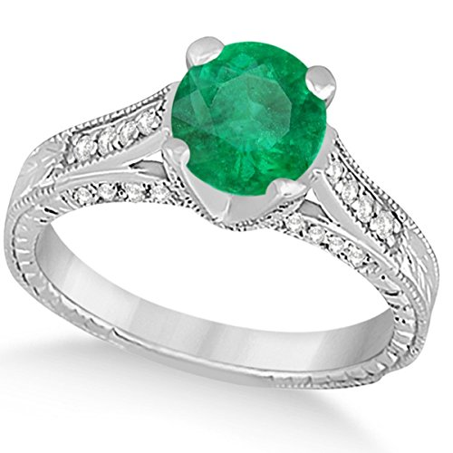 (1.40ct) 14k White Gold Diamond and Emerald Antique Cathedral Braided Rope Engagement Ring