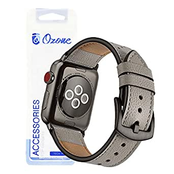 Ozone Leather Strap for Apple Watch 40mm / 38mm Replacement Strap For Series 4/Series 3/2 - Grey