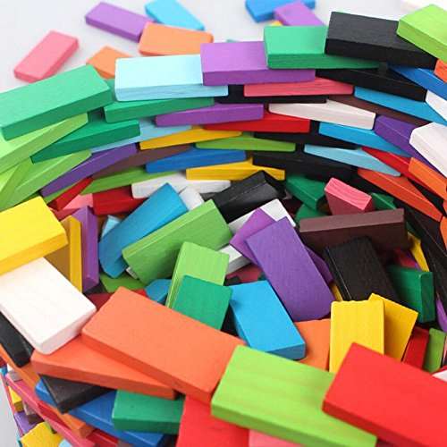 - 360 Pcs Super Domino Blocks Set Colorful Wooden Dominoes Set for Christmas Birthday Gifts