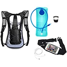 Running Hydration Backpack with Bladder, Running Belt and Safety Strobe Light - Best Gift for Runners Men and Women - Starter Kit Includes Black Hydration Pack with Pockets, 2L BPA Free Bladder