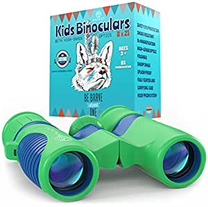 ROSKY Binoculars for Kids 8x21 Shock Proof Compact Binoculars Toy for Boys and Girls with High-Resolution Real Optics - Best for Bird Watching, Travel, Safari, Adventure, Outdoor Fun
