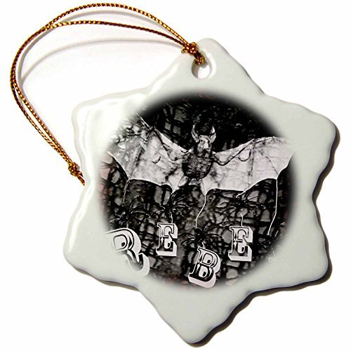 WhiteOaks Photography and Artwork - Halloween - Halloween Rebel is my yearly Halloween design with bats and rebel - 3 inch Snowflake Porcelain Ornament (245651_1) ()