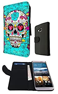 Sugar Skull Skulls Multi tattoo Diamond eye Design HTC ONE M9 Fashion Trend Book Style Purse Full Case Flip cover Defender Credit Card Holder Pouch Case Cover Book Wallet TPU Leather by ruishername