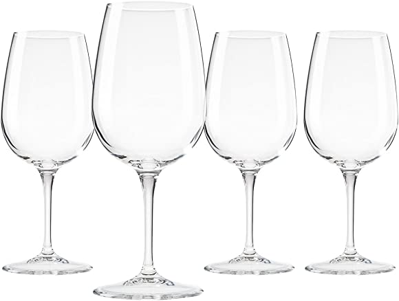 Bormioli Spazio Medium Wine Glasses, Clear, 13.5 oz Set of 4