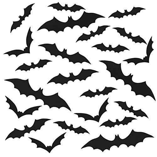 VEYLIN 120 Pcs 3D Bat Sticker Halloween Decor, Gothic Bat Stickers for Window Halloween Party Supplies]()