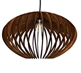 Thr3e Lighting Oval Pendant Wood Light - Wood Pendant Chandelier
