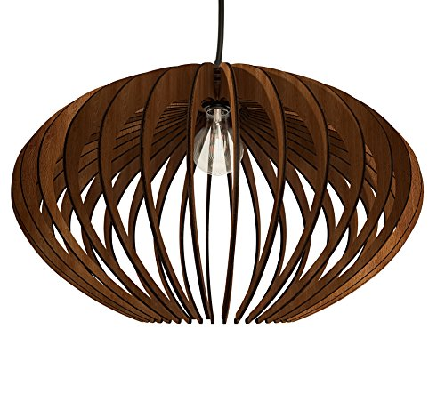 Thr3e Lighting Oval Pendant Wood Light - Wood Pendant Chandelier by Thr3e Lighting