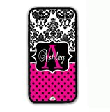 ArtsyCase Damask Hot Pink Polka Dots Monogram Personalized Name Phone Case - iPhone 5 and iPhone 5S (Black)
