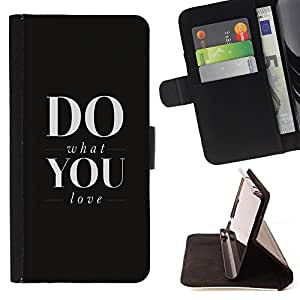 - Do What You Love - - Monedero PU titular de la tarjeta de cr?dito de cuero cubierta de la caja de la bolsa FOR Samsung Galaxy S5 Mini, SM-G800 Retro Candy