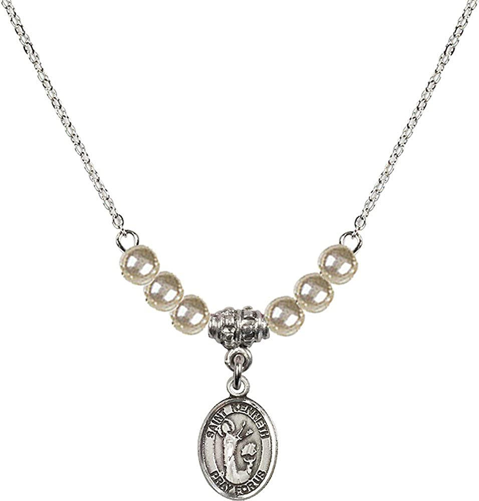18-Inch Rhodium Plated Necklace with 4mm Faux-Pearl Beads and Sterling Silver Saint Kenneth Charm.