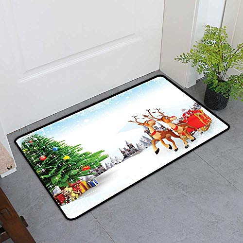 TableCovers&Home Low-Profile Mat, Santa Indoor Out-Imdoor Rugs for Kids Room, Snow Covered Christmas Village with Cartoon Santa on His Sleigh Big Tree and Boxes (Multicolor, H24 x W36)