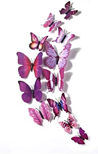 FEUON 12Pcs Colorful Butterfly Wall Stickers with pin DIY Art 3D Double Wings Décor Stickers for Kids Girls Baby Women Bedroom Bathroom Living Room(Purple)