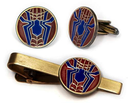 SharedImagination Spider-Man Tie Clip, Marvel Avengers Logo Cufflinks, Amazing Spiderman Jewelry, Ironman Captain America Tie Tack Present, Cuff Links Wedding Party Groomsmen Gift