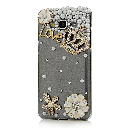 Grand Prime Case,G530 Case – Mavis's Diary 3D Handmade Bling Diamonds Crystal Golden Crown Lovely Flowers with Shiny Rhinestone White Pearls Clear Har…