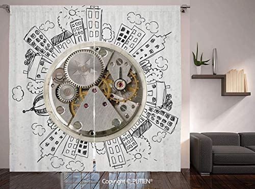 Oakland Clock Neon Raiders - Thermal Insulated Blackout Window Curtain [ Clock Decor,An Alarm Clock with Clouds and Buildings Around It Pattern Decorative Design,Light Grey ] for Living Room Bedroom Dorm Room Classroom Kitchen Ca