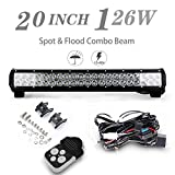 "20"" Inch Led Light Bar 126W Spot&Flood Combo Beam w/ Wiring Harness Kis For Chevrolet Dodge Ford GMC Jeep Wrangler Toyota Polaris RZR Ranger ATV UTV Can Am Maverick Boat Suv"