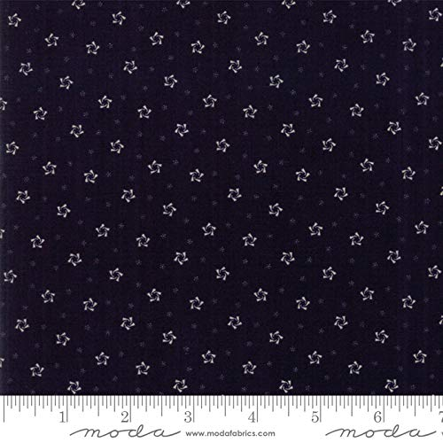 Primitive Gatherings, Star Stripe Gatherings, Small White Curved Stars, Navy Blue Background, Moda, 1264-16, by The Yard