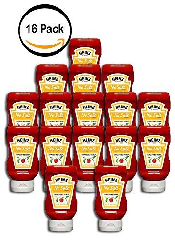 PACK OF 16 - Heinz No Salt Added Tomato Ketchup 14 oz. Bottle