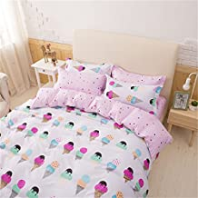 Sookie 3 Piece Duvet Cover Set with 2 Pillow Shams - 800 Thread Count Luxurious&Extremely Durable Premium Bedding Collection - Pink ice cream pattern - Queen Size