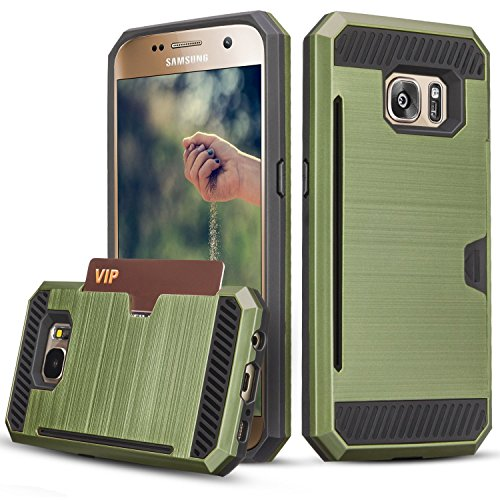 Galaxy S7 Case, TILL(TM) Wallet Case [Card Pocket] Shockproof Dual Protective Shell Rubber Bumper with Card Holder Slot Kickstand Case Cover for Samsung Galaxy S7 S VII G930 GS7 All Carrier [Green]