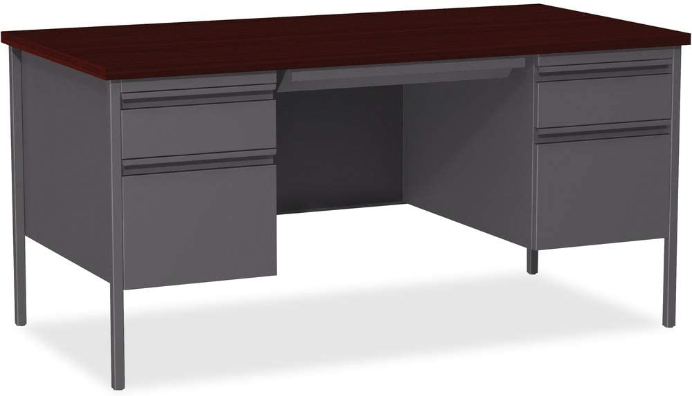 Lorell Double Pedestal Desk, Mahogany, 60 by 30 by 29-1/2-Inch
