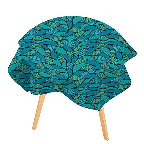(PINAFORE Round Tablecloth Abstract Wavy in Teal and Blue Color tints Blue Azure andmarrs Green Waves Wave Texture Waterproof Wine Tablecloth Wedding Party Restaurant 59