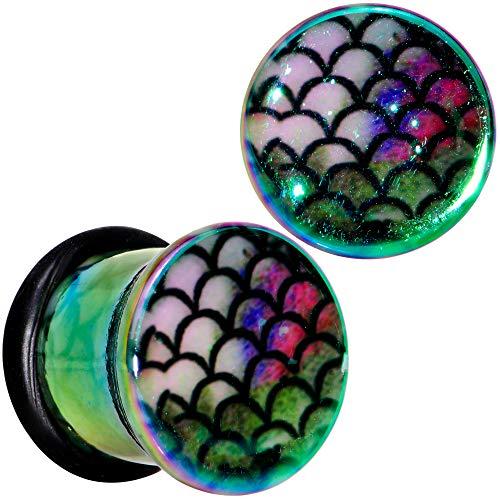 Body Candy Blue Green Acrylic Magical Mermaid Single Flare Ear Gauge Plug Set of 2 00 Gauge