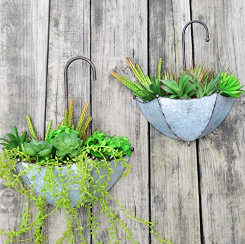 GIFTME 5 Set of 2 Galvanized Metal Umbrella Hanging Wall Planter Flower Holder Indoor or Outdoor Garden Succulent Wall Planter ()