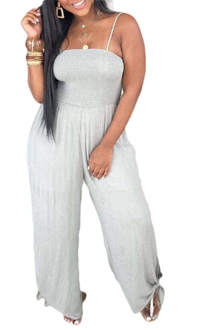 Rrive Womens Spaghetti Strap Sleeveless Summer Wide Leg Jumpsuit Romper