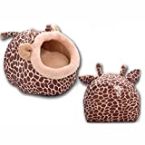 Prettysell Cute Animal Round Comfortable Indoor House Shelter Puppy Kitten Dog Cave Cat Bed with Big Paw Print and Removable Pet Bed Mat