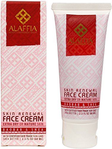Skin Renewal Cream - Alaffia - Skin Renewal Face Cream, For Extra Dry or Mature Skin, Moisturizing Support for Youthful, Toned Skin with Shea Butter, Baobab, and Cocoa, Fair Trade, No Parabens, Vegan, Non-GMO, 2.3 Ounces