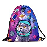 Aigemi Unicorn Print Drawstring Gym Sport Bag, Large Lightweight Gym Sackpack Backpack School Rucksack (Space Cat)
