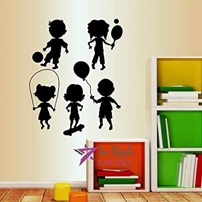 Wall Vinyl Decal Home Decor Art Sticker Cute Little Kids Dancings Playing Nursery Bedroom Play Room Room Removable Stylish Mural Unique Design: Home & Kitchen