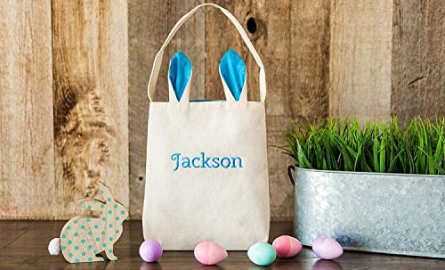 Qualtry Personalized Bunny Tote Bags | Rabbit Ear Grocery Bag Burlap Ear Basket - Eggs Carrying Gift Easter Handbag (Blue) ()