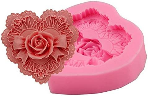 1/Rose Heart 1cavidad Mould Candy Cake Chocolate Ice Jelly Soap Cake Fondant Cake Baking Tools DIY Cake Size 7.1/* 7.6/* 2.1/cm Dosige Molds Silicone Mould in the shape of heart of Rose
