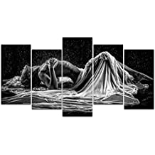 Sea Charm- Naked Girl in The Rain Picture Canvas Prints,Black and White Sexy Woman Wall Art,5 Panels Art Framed for Modern Bedroom Wall Decoration